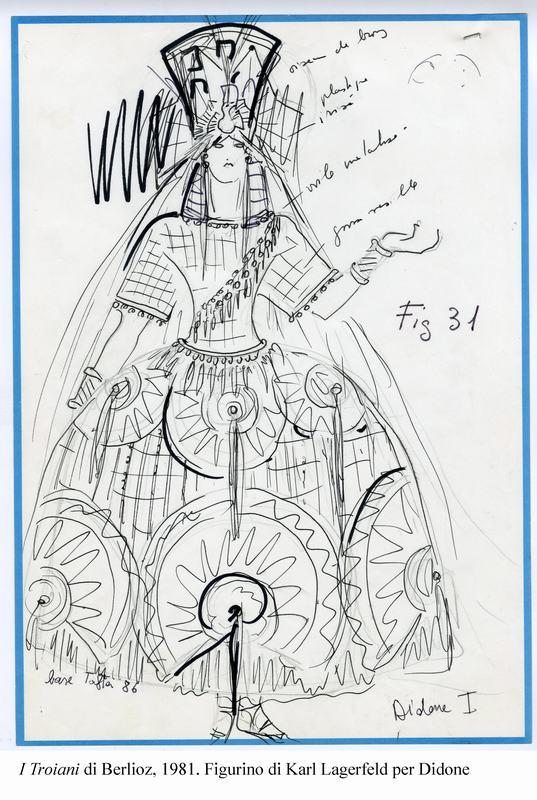 2-I Troiani di Berlioz, 1981. Figurino di Lagerfeld per Didone