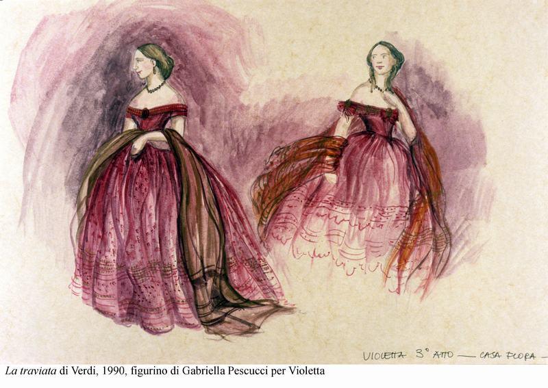 5-La traviata di Verdi, 1990, figurino di Pescucci per Violetta